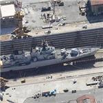 Italian Maestrale class frigate 'MM Zeffiro' (F577) in drydock (Birds Eye)