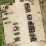 Trucks parked at US Army Reserve Center (Birds Eye)