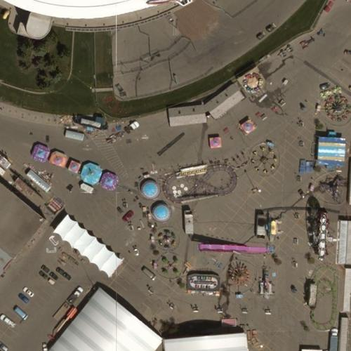 Amusement rides at the Calgary Stampede (Bing Maps)