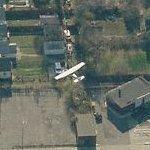 Small plane flying over Detroit (Birds Eye)