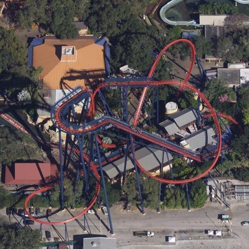 Sheikra Roller Coaster at Busch Gardens (Birds Eye)