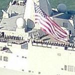 Amphibious transport dock USS San Antonio (LPD-17) returning to port (Birds Eye)