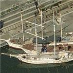 Three old sailing ships (Birds Eye)