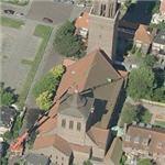 Crane over a church at 9:23 (Birds Eye)