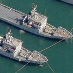 Three Italian Navy Gorgona class coastal logistics vessels