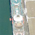 Royal Caribbean's 'Monarch of the Seas' lowering lifeboat in port (Birds Eye)