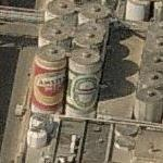 Giant Amstel and Heineken beer cans (Birds Eye)
