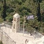 Greek flag over St.George Lycabettus (highest point in Athens) (Birds Eye)