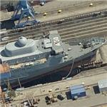 German Navy Alster (A 50) in drydock (Birds Eye)