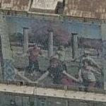 Murals of children playing among Greek ruins (Birds Eye)