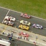 NASCAR cars on pit road (Birds Eye)
