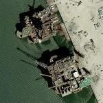 Offshore oil platforms under construction / retrofit (Bing Maps)