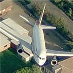 Airplane departing Heathrow Airport (Birds Eye)