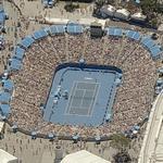 Tennis Match in progress at Margaret Court Arena (Birds Eye)
