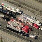 NHRA haulers lined up at Pomona