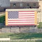 US flag on a roof (Birds Eye)