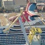 Carnival cruise ship in drydock