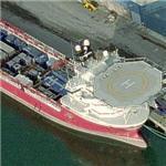 Offshore oil rig servicing ship (Birds Eye)